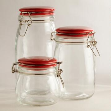 Glass Canisters with Red Clamp Lids
